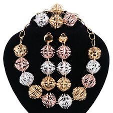 Fashion Gold Plated African Wedding Necklace Bracelet Earring Ring Jewelry Sets