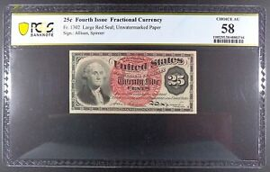 "Fr. 1302 25-cent Fourth Issue Fractional Note, ""Washington"", PCGS ChAU 58."