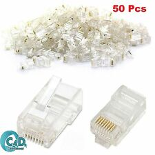 50 x RJ45 Cat5e Cat6 Ethernet Network LAN Cable Crimp End Plug GOLD Connectors