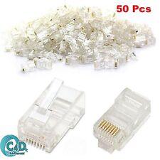 50 X RJ45 Cat5e Cat6 Ethernet Red LAN Cable Crimp Conectores De Oro Enchufe final
