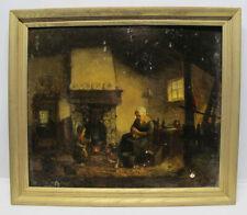 Antique 19th C Oil Panel Painting Kitchen Life Hague School Of Josef Israels yqz
