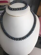 "10k Gold Black Pearls Necklace 18"" With Braclet 7"""