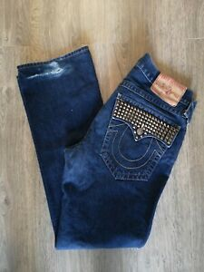 Mens True Religion Ricky Jeans Pants W36 L33 Designer Trousers Denim Logo Stud