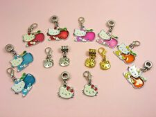 Antiqued Silver/ Gold/ Enamel HELLO Kitty CHARM ~European Bail or CLIP On Clasp~