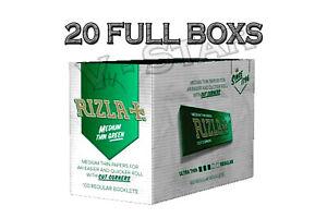 20 BOX OF RIZLA GREEN REGULAR CIGARETTE ROLLING SMOKING PAPERS
