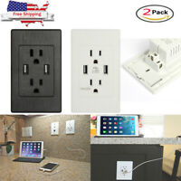 2 Pack Dual USB Outlet Wall Socket Electrical Charger Surge Protector Receptacle