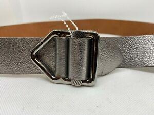 Purple Label Ralph Lauren Silver Calf Leather Belt Slide Silver Buckle 36/90