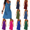 Women Loose Vest A Line Midi Dress Sleeveless Casual Summer Sundress Plus Size