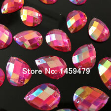10 pcs x Sew On 25x18 mm Acrylic Rhinestones Pale Red AB Color Teardrop Shape