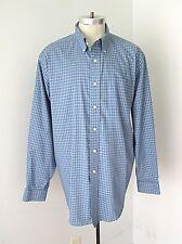 MINTY LL Bean French Blue Checker Plaid 100% Cotton BD Dress Shirt Pocket XL