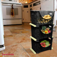 3 Tier Lace Design Storage Stacker Nester Vegetable Rack Kitchen Black Basket