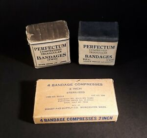 Lot of 3 Unused Medical Bandages (WWI & WWII). PERFECTUM & Handy Pad Co. Nursing