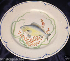 "FITZ & FLOYD JAPAN LA MER DINNER PLATE 10 1/4"" BLUE & YELLOW FISH BLUE BAND"