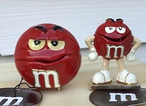 SET of 2 M&M Red Character Monet Enamel Hinged Keepsake Trinket Jewelry Box