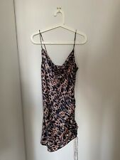 Topshop leopard print ruched satin mini dress size 10 NEW WITH TAGS