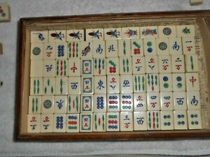 Antique VINTAGE MAH JONG JONGG SET 148pcs Bamboo Dove tail .