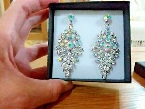 Brand new huge silver plated earrings with beautiful clear + AB crystals