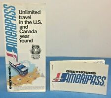 Vintage Greyhound Ameripass Brochure & Ticket Booklet 1970's Travel Bus Coach