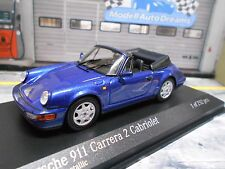 PORSCHE 911 964 Carrera 2 Cabrio Cabriolet blau blue met 1990 Minichamps 1:43