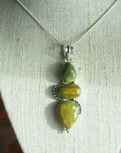~ Natural Ocean Jasper Gemstone Pendant & Silver Plated Chain ~ (m6)
