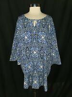 ELLOS Plus Size 26W Blouse Shirt Top Blue White Paisley 3/4 Sleeve