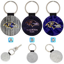 Baltimore Ravens Sporty Leather Glitter Key Chain Keyring Car Ring Silve
