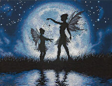 Cross Stitch Kit ~ Dimensions Twilight Silhouette Moonlight Fairies #70-35296