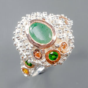 Women Jewelry Art Emerald Ring Silver 925 Sterling  Size 8 /R164988