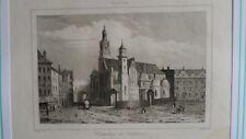 Gravure de 1840 - Pologne - Cathédrale de Krakovie - (Cracovie)