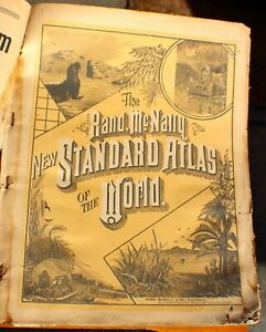VINTAGE - THE RAND MCNALLY NEW STANDARD ATLAS OF THE WORLD 1890