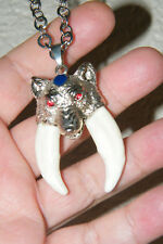 """WOLF Necklace 2 Coyote Tooth Tibet Silver Amulet 30"""" Stainless Steel Chain NEW!"""