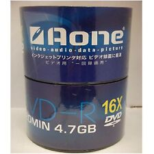100 x Aone 16x White Full Face Printable Blank DVD-R Discs 4.7GB 120mins Shrink