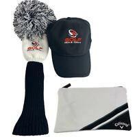 Callaway Golf Zipped Valuables Pouch Bag - Pom Pom FW Cover And Black Cap New
