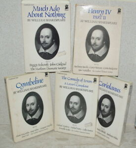 Shakespeare on 5 Sets Cassettes: Much Ado, Cymbeline, Comedy, Coriolanus, Henry