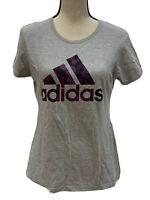 Adidas Womens The Go-To Tee Shirt Gray Size Medium Short Sleeve Camo Letters - A