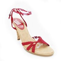 Cole Haan Ladies 10 B Slingback Red Open Toe Ankle Wrap Pumps Sandals Brazil