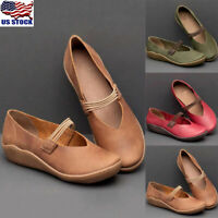 Womens Soild Round Toe Slip On Flat Shoes Ladies Casual Loafers Pumps Shoes Size