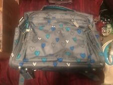 Jujube rad hearts bff diaper bag gray and blue with backpack straps