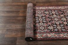 Vintage Traditional 13 ft LONG BLACK Runner Floral Hamedan Oriental Rug 3'x13'