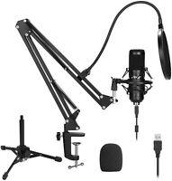 USB Microphone Kit, AGPTEK 192KHz/24Bit USB Condenser Studio Podcast Microphone