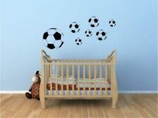 Wandtattoo Fußbälle Fußball 7 Stück Kinderzimmer Wandsticker schwarz Deko Neu