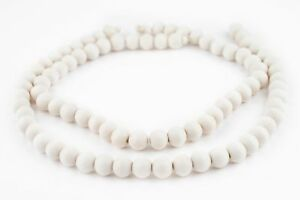 White Round Natural Wood Beads 10mm Large Hole 16 Inch Strand