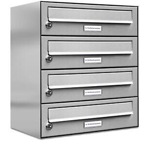 4er Premium Edelstahl Briefkasten Anlage für Außen Wand Design Postkasten 1x4