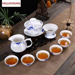 10 Pcs China Kung Fu Tea Set Ceramic Tea Cup Pot Blue and White Bone Tea Service