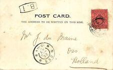 CHINA, POSTAL HISTORY HONGKONG 4 Cts. on Postcard to NETHERLANDS 1905 !