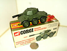 Rare Vintage Corgi 906 Saladin Armoured Car in Original Box with shells.