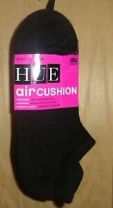 HUE U14169 3-PK Black Air Cushion Heel Tab No Show Moisture Control Socks