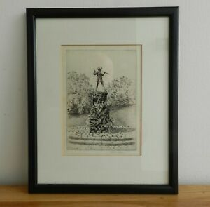 James Grant - Antique etching Peter Pan Statue Hyde Park pencil signed