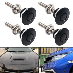 4pcs Black Aluminum Push Button Quick Release Bumper Hood Pin Bonnet Lock Latch