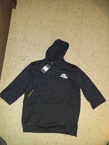 Nike Baseball 3/4 Short Sleeve Hoodie - Sz M L Black - BQ6597 010 - Pullover